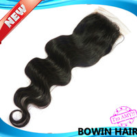 8 Lace Closure Human Hair Free shipping peruvian lace closure unprocessed virgin remy hair body wave bleached knots quality guarantee can be dyed