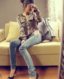 Wholesale New European Style Women s Sexy Shirts V Neck Leopard Print Stars Double Pockets Cardigan Loose Clothing Long shirts