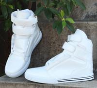 Wholesale Hot selling Korean fashion men s casual shoes PU white high top sports shoes Men s flat shoes