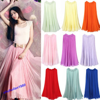 Chiffon Above Knee Women Free Shipping 2013 Hot Stye Pretty Lady's Full Circle Chiffon Skirt Long Maxi Skirt