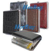 metal cigarette case - Pocket Leather Hold Metal Holder For Cigar Cigarette Cigarette Tobacco Case Box Holder Smoke Storage