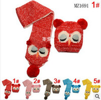 Wholesale Children s winter girls boys cute fashion Faux warm owl scarf hat set set dandys