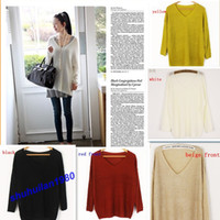 Women Alpaca Twinset Free Shipping New Sexy V-neck Oversized Batwing Slouchy Knitted Jumper Loose Sweater Top