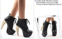 Ankle Boots other  Chunky Heel Hot Sale New women bone skeleton heels ankle lace up boots high heels leather flock platform sexy rubber boots pumps