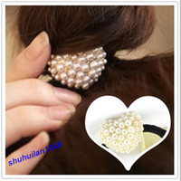 Wholesale Sweet Imitation Pearl Beads Love Heart Elastic Hair Band Ponytail Holder