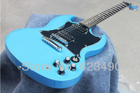 Cheap Best Price Custom Shop Light Dark Blue SG Electric Guitar Free Shipping