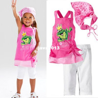 Unisex Spring / Autumn US $41.25 / lot  5 Sets / lot , US $8.25 Freeshipping baby suits Girl's 3 piece suits Girl's frog Sling beach short sleeve suits Girl's frog vest dress + shorts + Scarf