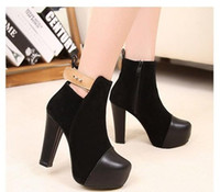Ankle Boots Cotton Chunky Heel Hot Sale New winter Women's boots Artificial pu leather Side zipper design High heel boots Naked boots