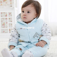 Wholesale Infant clothes autumn and winter vest piece set baby clothes child cotton padded set