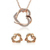 Wholesale JS G105 New Austrian Crystal Jewelry Sets Heart Earrings amp Necklaces K Gold Plated Pendants Jewelry sets Freeshipping