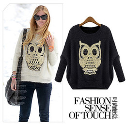 Wholesale Sexy Owl Pattern Woman Mohair Sweater Outwear Knitwear Round Neck Bat Wing Long Sleeve Loose Sequins Jumper Sweaters Tops LJ1105