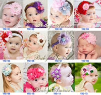 Wholesale New Arrival BABY AMOUR Cute Colors TOP Baby Girls New Christmas Ribbon baby lace flower headband kids Hair Accessories MB015