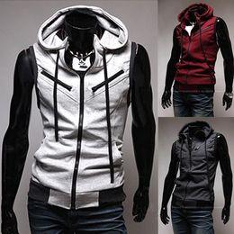 Wholesale Men s Fashion Casual Sleeveless Slim Fit Hooded Hoodies Vest Waistcoat M23 salebags