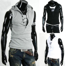 Wholesale wowsexy2010 n flux Of Man s Casual Slim Fit Hoody Sleeveless Tee Shirt T shirt Hoodie M21
