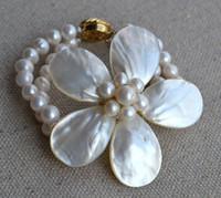 Beaded, Strands aa pearls - Flower Bracelet Shell Flower Bracelet Freshwater Pearl Bracelet White Pearl Bracelet Rows AA MM Pearl Bracele New