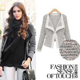 Wholesale Casual Cotton Blazer Womens - Fashion Womens Knit Sweater Jacket Coat Slim-Fit Tuxedo Jacket Casual Short Blazers Winter Coats Outwear LJ1110