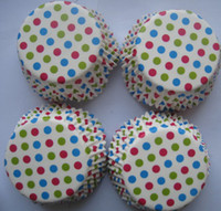 Wholesale lastest inch colorful dots petal cupcake cupcakes liners baking paper cup muffin cases for party