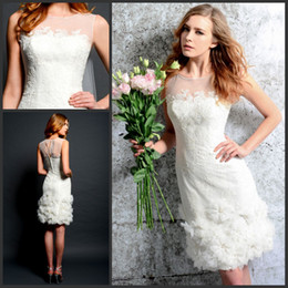 Wholesale Bateau Lace Appliques Handmade Flowers Sheath Sleeveless Short Court Wedding Dresses Bridal Gowns