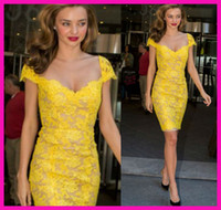 Wholesale Vestidos New Yellow Lace Cap Sleeve Short Festa Tight Fitting Cocktail Party Dresses E5246