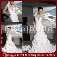 Wholesale 2014 Sexy Indian Wedding Dress with Glamorous Flowers One shoulder and Bright Beaded Sheer Middle Bust Pleated Mermaid White Bridal Gowns