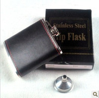 Wholesale 32pcs oz Stainless Steel Flask Whiskey Hip Liquor Alcohol Drink Pocket Bottle with Funnel in Black leather Top Quality