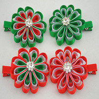 Wholesale Trail order girl christmas hairpin Grosgrain Ribbon flower with rhinestone duck Clip accessories