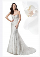 Trumpet/Mermaid Reference Images Sweetheart Vintage Mermaid Chapel Train Lace Demetrios 1455 Wedding Dresses Sheath Vintage Bridal Gowns Elegant