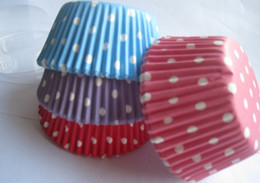 500 mix color polka dot white Cupcake liners baking cup