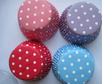 Wholesale new arrival inch blue red pink purple color mix dots gift cupcake cupcakes liners baking paper cup muffin cases for party