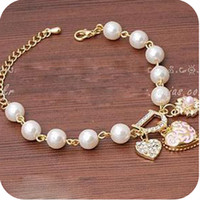 Charm Bracelets Alloy / Silver / Gold Gold At least 35 shipping OB0050 lady style diamond hearts bracelet pearl flower pendant 19g letter D