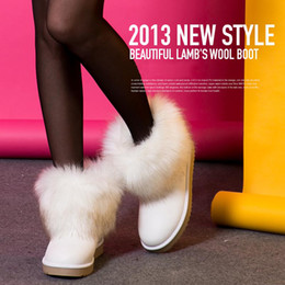 Wholesale Ladies Heeled Waterproof Leather Boots - australian sexy comfortable womens Fox fur snow boots waterproof low tube snow boots Winter warm Boots ladies cotton-padded shoes