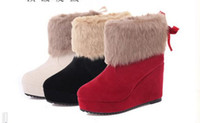 Wholesale Brand New Hot women winter boots platforms wedges nubuck leather boots female snow rabbit boots wedge bowknot ladies shoes