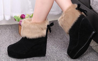 Ankle Boots ladies leather boots - 2014 Brand New Hot women winter boots platforms wedges nubuck leather boots female snow rabbit boots wedge bowknot ladies shoes