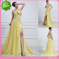 Wholesale Latest Design Chiffon Yellow One Shoulder Slit Skirt Beaded With A Bow Free Custom Size Made Terani Prom Dress