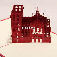 Wholesale 3D Notre Dame De Paris Handmade Creative Kirigami amp Origami Pop UP Greeting amp Gift Cards set of