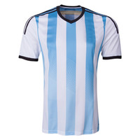 Wholesale Argentina Home Soccer Jersey White Blue Stripes New Arrival Mens Soccer Jerseys High Quality Players Team Uniform Mix Order