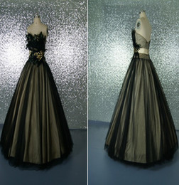 Wholesale Real Picture Feather quinceanera dresses Party Black Ball Gown Sweetheart Formal Floor Length Crystal Beaded Tulle Prom Dress Q11