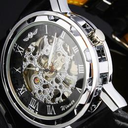 STEAMPUNK New Mens Swiss Design Men's Silver Skeleton Man AUTO Mechanical Watch Men Sport Automatic Mechanical Wrist Watch Black Leather