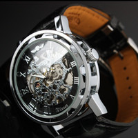 Wholesale WINNER Fashion Faux Leather Mechanical Watch Men s Decoration Watch Black Band STEAMPUNK Swiss Skeleton Man Watches Mechanical Wristwatch