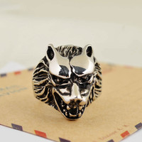 wolf jewelry - Fashion cool men punk style wolf head Ring black enamel wolf with open mouth animal Finger Ring jewelry