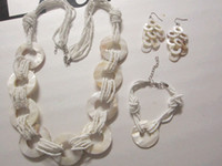 Alloy shell necklace and earring - Bridal jewelry sets shell necklace earrings and bracelet pieces set set retail