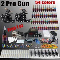 Wholesale Complete Tattoo Kit Pro Machine Guns Inks Power Supply Needle Grips TK256