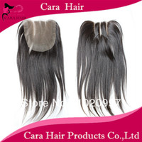 8 Indian Hair Lace Closure Free shipping Cara hair products Three 3 PART closure straight brazilian virgin hair lace closure bleached knots 4X4 can be dyed