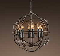 Wholesale RH Lighting Restoration Hardware Vintage Pendant Lamp FOUCAULT S IRON ORB CHANDELIER RUSTIC IRON RH Loft light cm cm