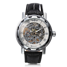 Men Luxury Steampunk Skeleton Classic Business Hand-wind Mechanical Wrist Watch Winner White Dial Mechanical Wrist Watch Black Strap Band