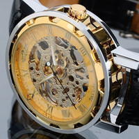 Wholesale Lowest Price Luxury Men Mechanical Watch women Mechanical Skeleton Gold Sliver wristwatch Winner Hollow Stainless Steel Black Leather Band