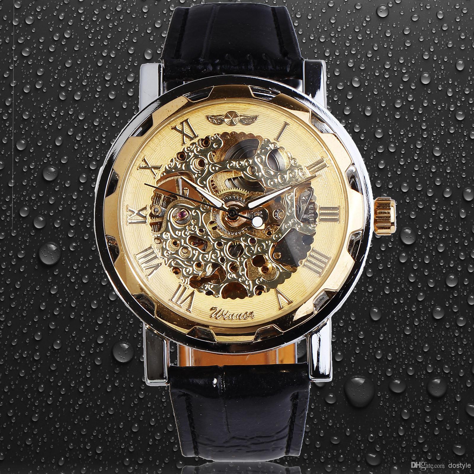 classic men s black leather gold dial skeleton mechanical sport classic men s black leather gold dial skeleton mechanical sport army wrist watch winner mens skeleton wristwatch