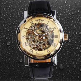 Classic Men's Black Leather Gold Dial Skeleton Mechanical Sport Army Wrist Watch Winner Mens Skeleton Wristwatch Gold Case Band Watches