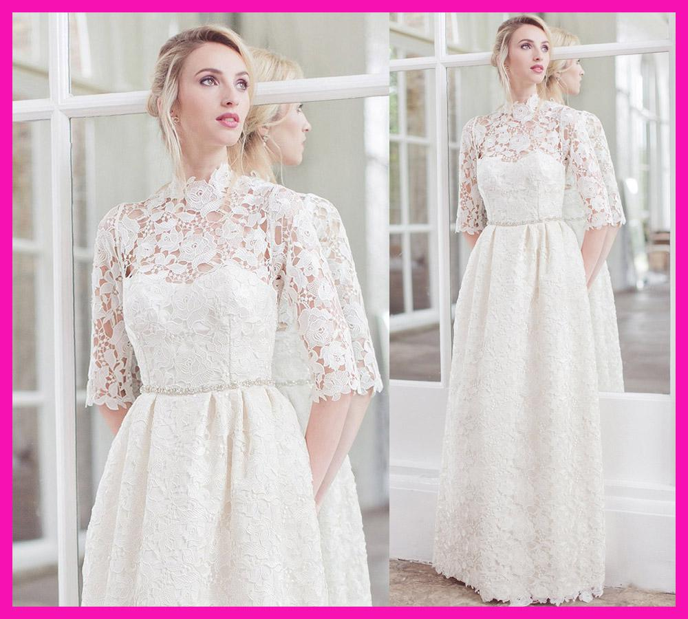 Discount modest white lace high neck long sleeve casual for Long sleeve casual wedding dresses