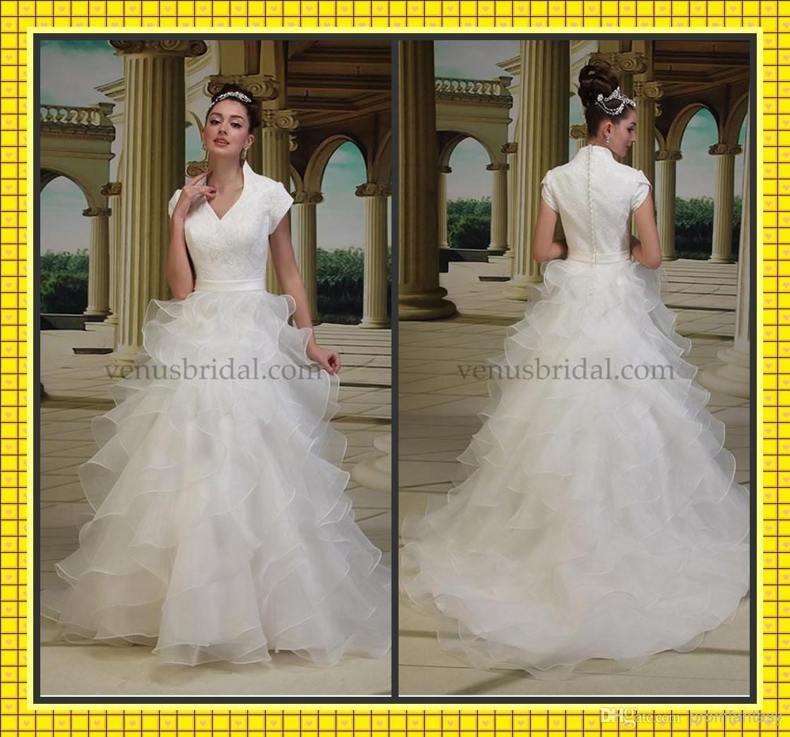 Discount 2014 modest short sleeve a line ruffle wedding for Short modest wedding dresses